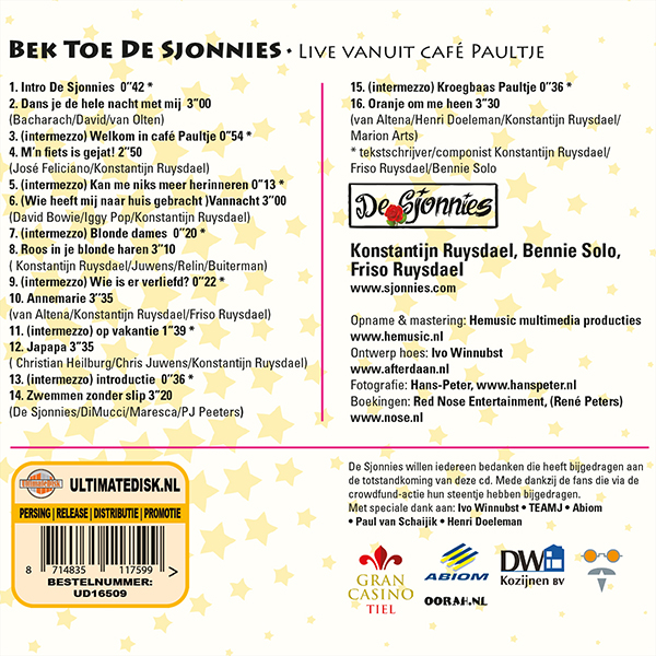 De Sjonnies - Bek Toe De Sjonnies (Back)