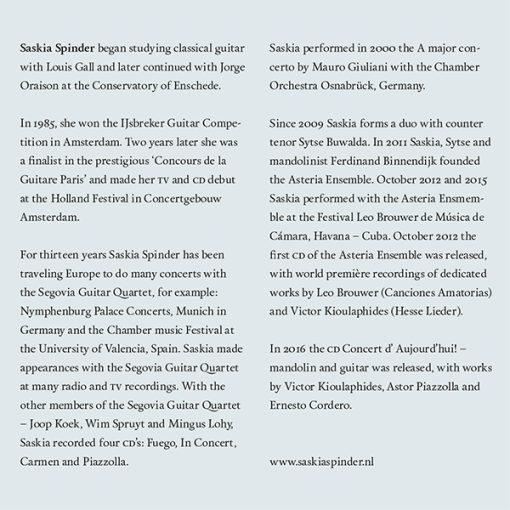 Saskia Spinder - Evocación (biografie)